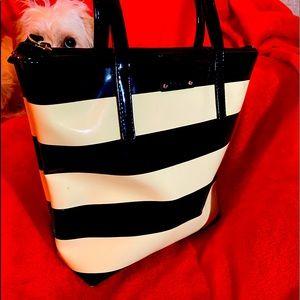 Kate Spade Patent Leather B & W Striped Bag